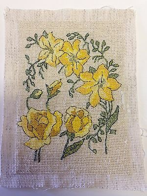 Finished Petit Point Crewel Embroidery Roses and Yellow Spring Flowers Unframed