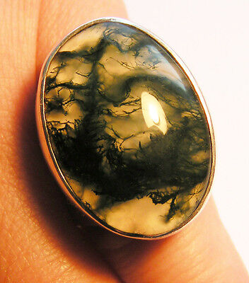 Heavy Vintage Silver and Scottish Moss Agate  Ring size M.