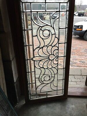 Sg 966 Antique All Beveled Glass Transom Window With Textured Glass Border