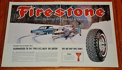 Large 1964 Firestone Town & Country Tires Ad / Buick & 1963 Oldsmobile Art Retro