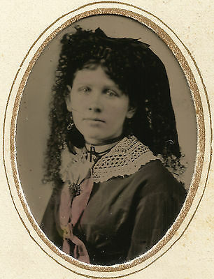ELABORATE CURLY LOCKS Hairstyle, VEIL, Interesting JEWELRY Pieces Young Lady TIN