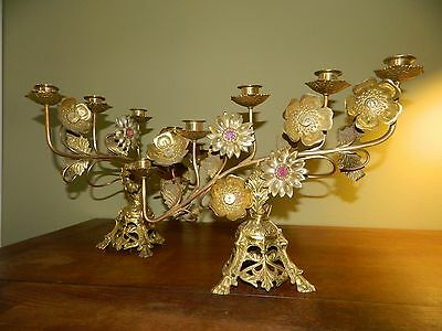 Antique Vintage Pair of Flower Decorated Candelabras