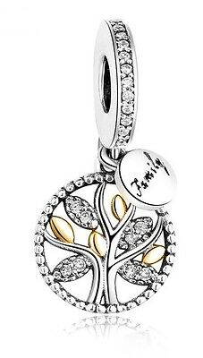 Sterling Silver family tree pendant charm , S925