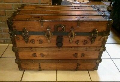 1800's Antique Victorian Flat Top Steamer Trunk Chest