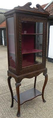 Victorian Carved Oak Cabinet on Stand