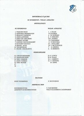 FC EINDHOVEN v WIGAN ATHLETIC  2003  Freindly Match