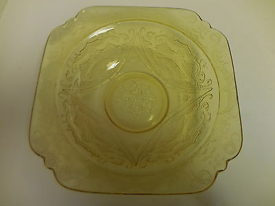 """Madrid Pattern Federal Depression Glass Bowl Yellow Amber Square 7"""" Vintage"""