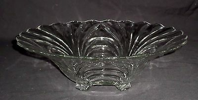 """Cambridge Glass *** CAPRICE-Clear *** 13"""" 4-Toed Gardenia Bowl *Footed Scalloped"""