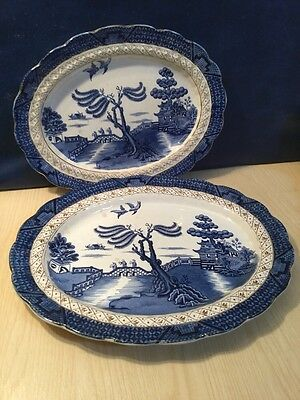 Two Early Booths Real Old Willow Pattern Oval Meat Plates Blue & White China