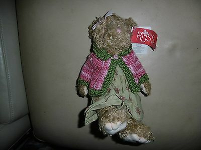 Russ Camille Bear with Pink cardie Teddy Bear Soft Toy