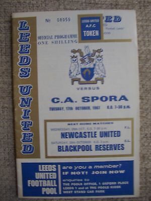 1967...LEEDS UNITED  v  C.A.SPORA.....Inter-Cities Cup.......Football Programme