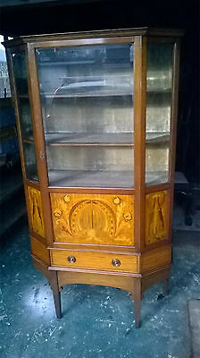 Edwardian Rosewood Mahogany Inlaid Display Cabinet