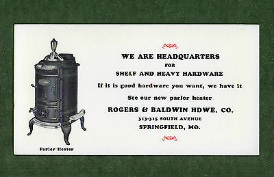 "ROGERS & BALDWIN PARLOR HEATER Unused Blotter - 3¼""x6¼"", c.1915, Great Condition"