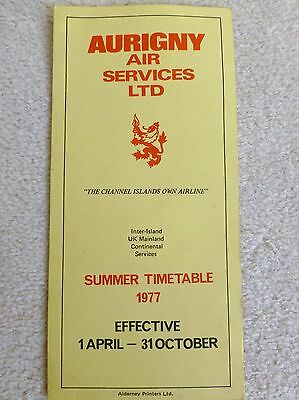 Vintage (1977) Aurigny Air Services Ltd fold out Summer Timetable