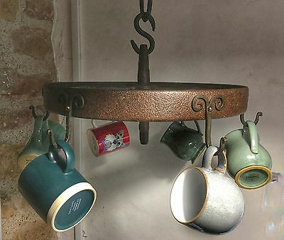 Antique forged iron wheel & chain upcycled kitchen pan/utensil holder etc