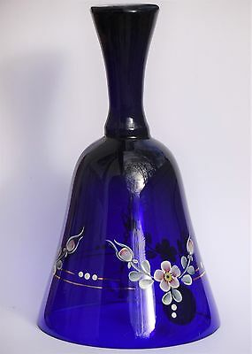 Czech glass bell hand painted, 6'' Tall, Cobalt Blue.