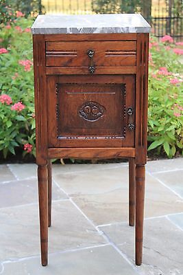 Antique French Oak Marble Top Side Cabinet Nightstand End Table Art Deco