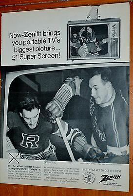 1960 Zenith Portable Television Ad With Hockey Game Playing - Retro 60S Vintage