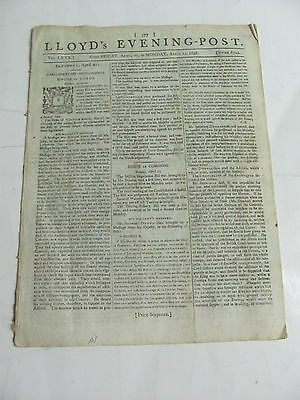 Lloyd's Evening Post April 1798 Newspaper London