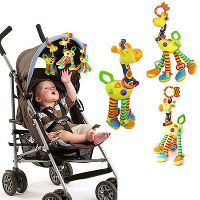 Newborn Baby Giraffe Stroller Bed Hanging Bell Infants Plush Teethers Gum Toys