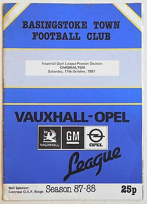 BASINGSTOKE TOWN Vs CARSHAL - 17 October 1987 - Vauxhall Opel League, Premier