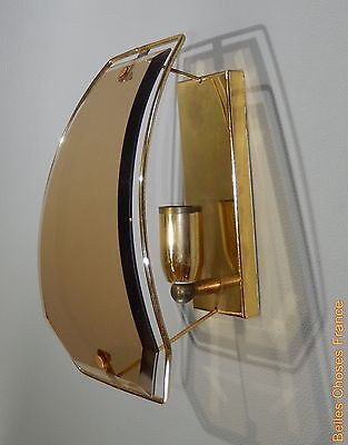 Vintage french mid century sconce lamp fixture brass genuine amber convex glass