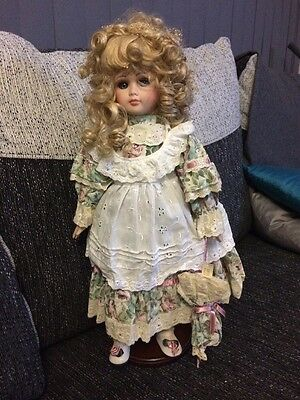 """Porcelain """"Amelia"""" Doll With Stand"""