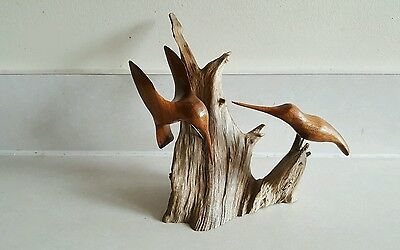 Signed R. ANSPACH Carved Wood Shorebirds on Driftwood