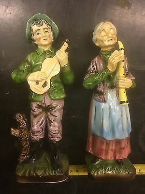 Ornaments Of Old Couple Playing, Vintage, Collectible