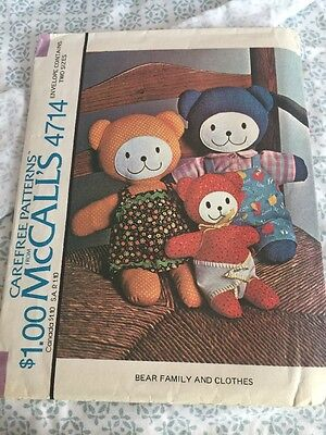 McCalls McCall 4714 Vintage Stuffed Teddy Bear Family With Clothes- Uncut
