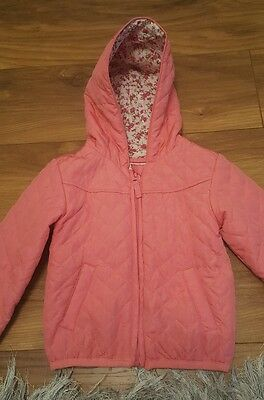 girls beautiful pink coat with floral lining 4-5