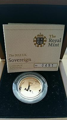 2012  Royal Mint Boxed Proof Gold Full  Sovereign With Certificate