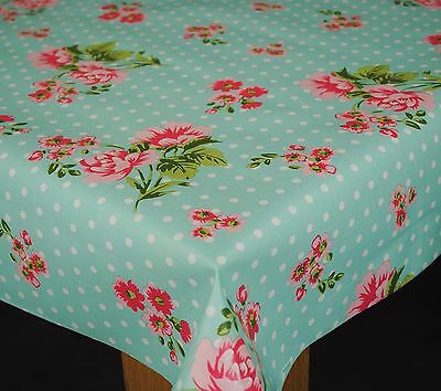 Shabby Dotty Rose Duckegg  Vinyl Wipe Clean Pvc Tablecloth