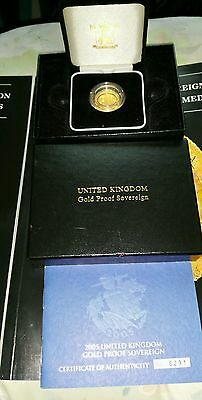 2005  Boxed Proof Gold Full Sovereign With Certificate