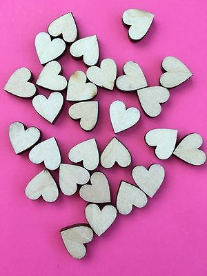 WOODEN HEART EMBELLISHMENTS - 1cm in SIZE