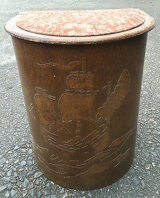 SITTING STOOL AND STORAGE POSSIBLY FROM THE 1950s WITH GALLEON OVERLAY DESIGN