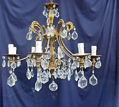 Vintage Italian 8 Light Crystal Chandelier, Chock full of Crystals, Brass, 1930s