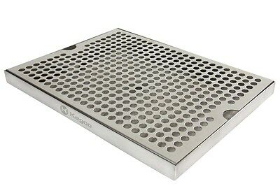"Kegco SESM-129D Stainless Steel 12"" x 9"" Surface Mount Drip Tray with Drain"