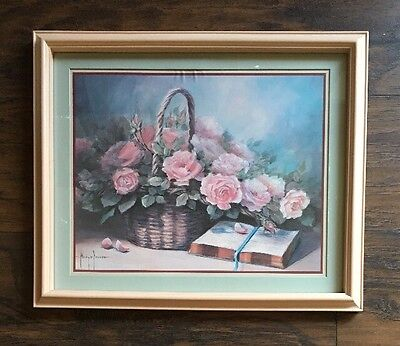 Home Interiors Homco Margie Morrow Bible Basket Pink Roses Flowers