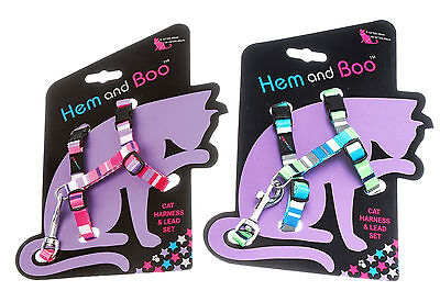 Hem & Boo Cat Harness & Lead Set Stripes CAMO 9mm X 30-40cm PINK BLUE Feline