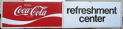 """Very Cool! Large Vintage Cola Metal Sign """"Refreshment Center"""" Coke Man Cave"""