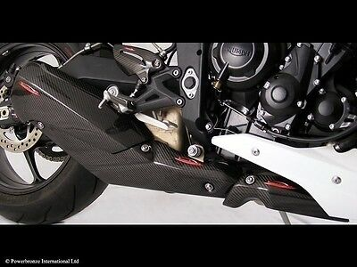 Triumph Street triple/R  13-2015 Carbon Fibre Exhaust Heat Shield by Powerbronze