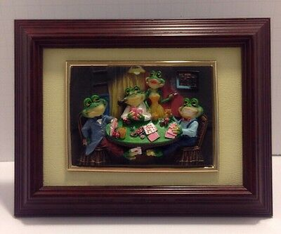 New In Box Frogs Playing Poker Framed Picture, 3-D Wall Art Decor Sculpture
