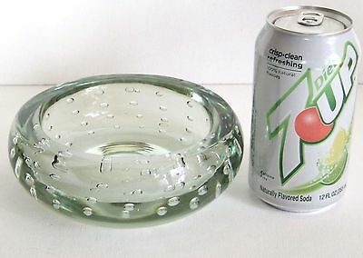 """Whitefriars Controlled Bubble Flint Glass Bowl William Wilson 50's 6"""" Diameter"""