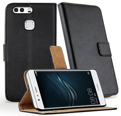 For Huawei P9 Case Cover Genuine Luxury Leather Flip Wallet Stand Pouch Black