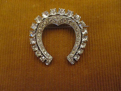 Vintage Signed MAZER Sterling Silver & Rhinestone Brooch Pin Horseshoe