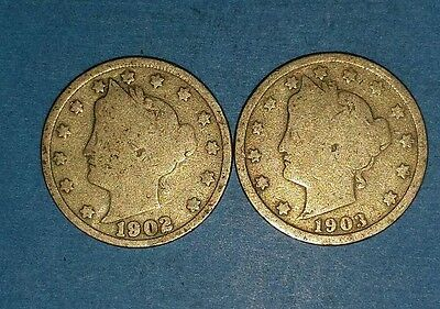 1902 And 1903 Liberty Nickels   ID #11-5,13