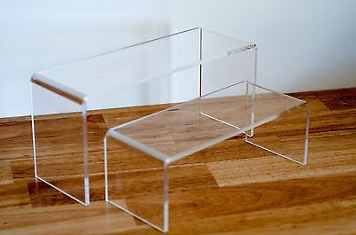 HOT Set of 2 Display Riser 5MM CLEAR Acrylic 9cm Wide [ OZ SELLER ] 91226-2-1