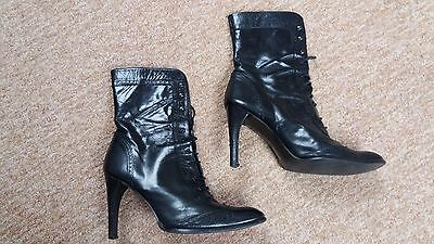 Black leather boots high heels Gothic Victorian steampunk Halloween UK 6 EU40