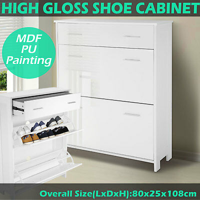 Buffet Sideboard Storage Cabinet High Gloss Cupboard Table Dresser Drawer White